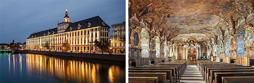 Wroclaw: de universiteit van de stad met rechts de indrukwekkende Aula Leopoldinum