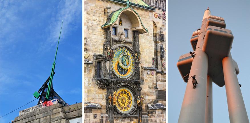 Praag: van links naar rechts: de metronoom, de astronomische klok, de Žižkov-televisietoren