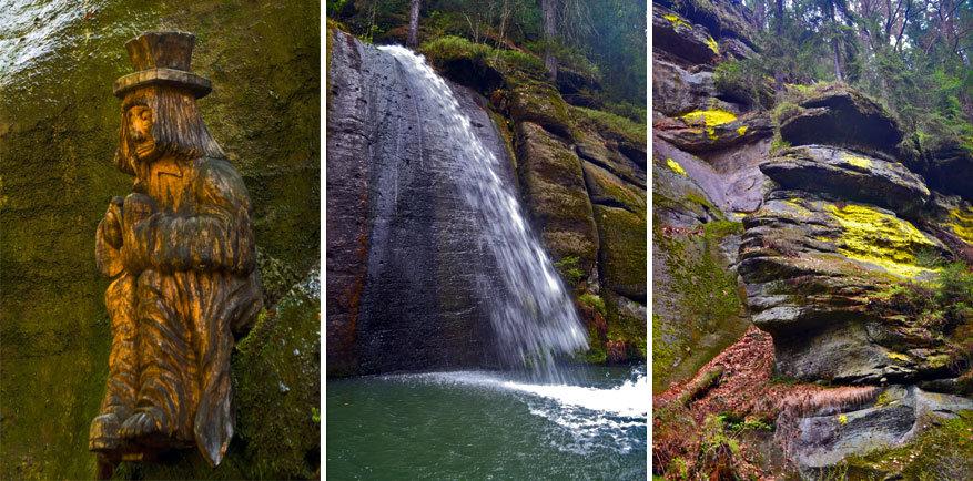 Links: Stony, midden: de opdoemende waterval en rechts: abstracte gezichten in de rotsen © Lisa Birkigt | © Kiënta Martens