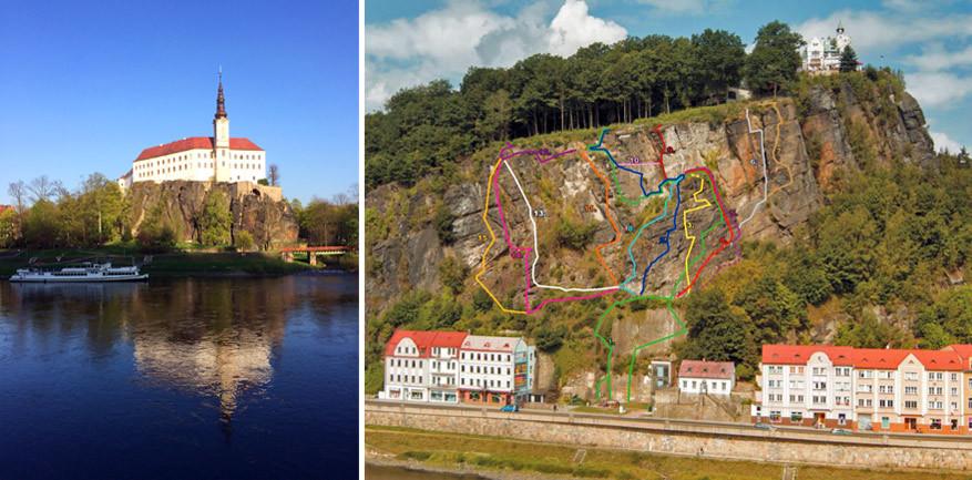 Links: het kasteel van Děčín en rechts: de routes van de Via Ferrata. Wij volgden de groene lijn. © Kiënta Martens |  © Toerisme Děčín
