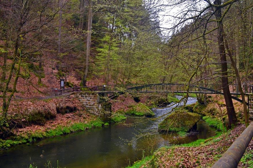 De wandeltocht begint langs de Kamenice, een zijrivier van de Elbe © Kiënta Martens