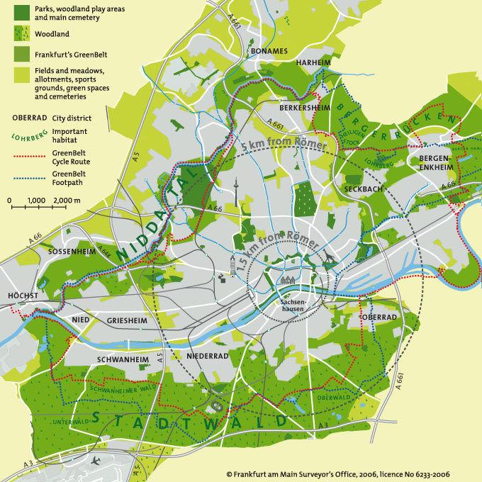 Frankfurt: de GrünGürtel in kaart