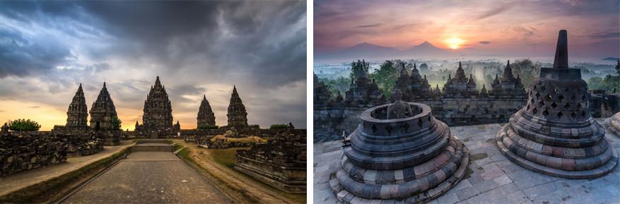 Java: links: Prambanan en rechts: Borobudur