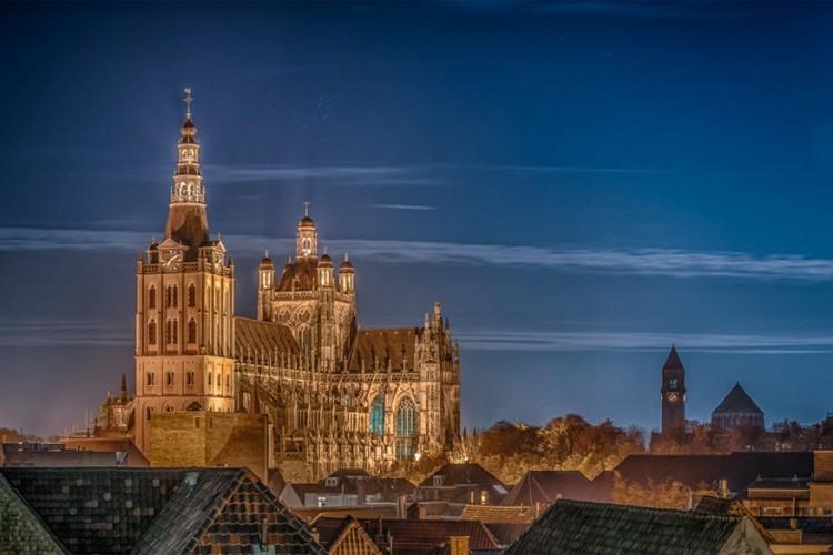 De Sint-Janskathedraal in 's-Hertogenbosch is volgens velen het hoogtepunt van de Brabantse gotiek. De kerk werd gebouwd tussen 1380 en 1530 en sinds de 19de eeuw voortdurend ingrijpend gerestaureerd. Dankzij het grote aantal luchtboogbeelden op de luchtbogen is de kathedraal een van de meest gedecoreerde bouwwerken van Nederland. © Marcel Stupers