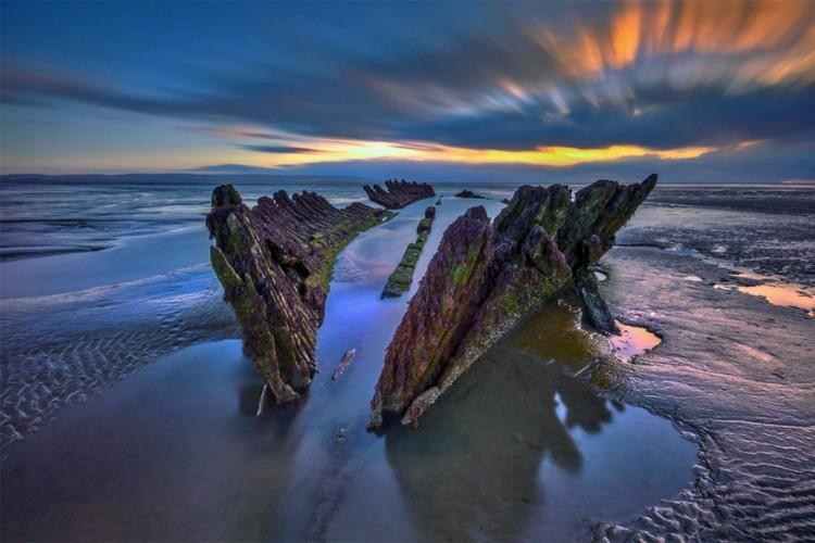 Berrow Beach, ten zuiden van Brean, Engeland in het Verenigd Koninkrijk © RGW Photography