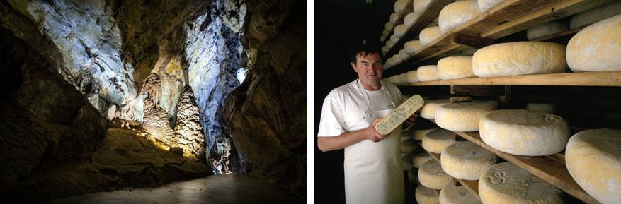 Links: de grotten van Cerdon en rechts: de kaas Bleu de Gex