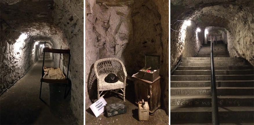De Ramsgate Tunnels met op de middelste foto de gereconstrueerde eerste-hulphoek. © Kiënta Martens