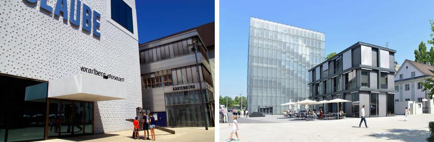 Kunst in Bregenz met links het Voralberg Museum en rechts het Kunsthaus