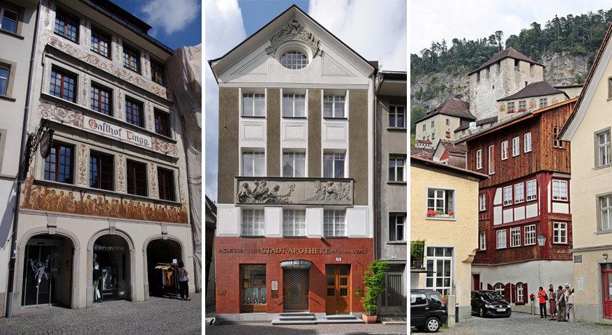 Speciale gevels in Feldkirch: links is op Markgasse, midden bij de stadsapotheker en rechts bij Rosengasse