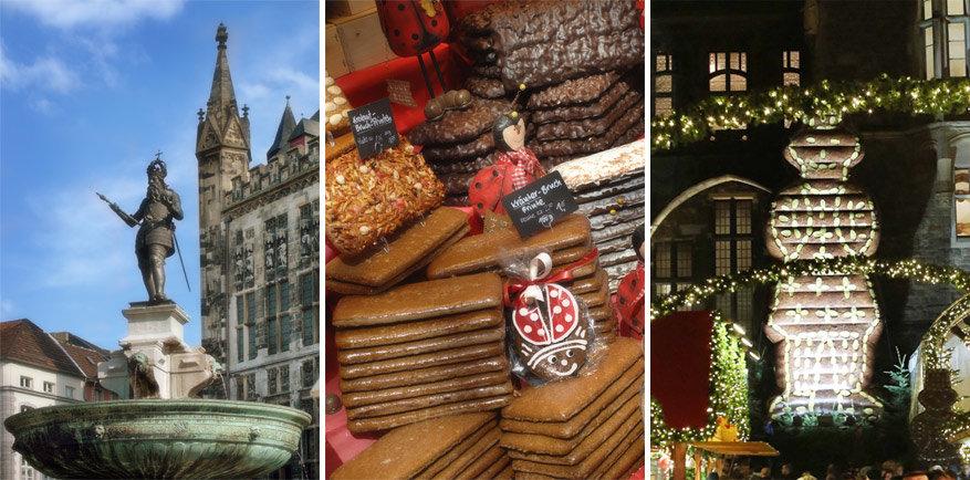 Keizer Karel, Printen en het decor van de kerstmarkt © Aachen Tourist Service e.v. | © Aachen Weihnachtsmarkt