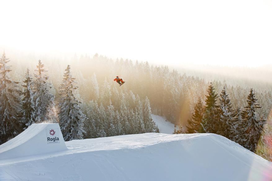 In Rogla Ski Resort ligt het grootste snow-park van Zud-Europa
