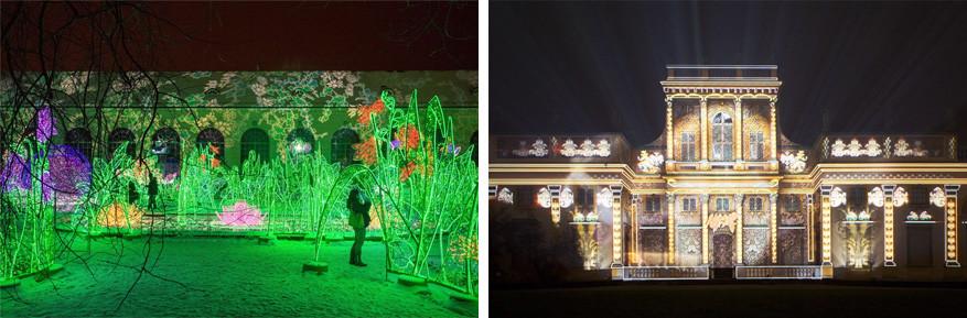 Paleis Wilanow in Warschau: beeld, licht en klank worden met elkaar gecombineerd.