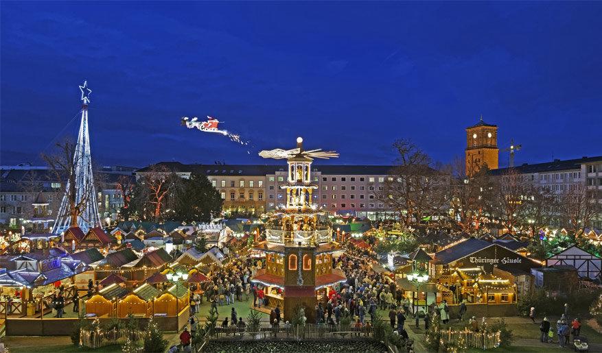De kerstmarkt in Karlsruhe