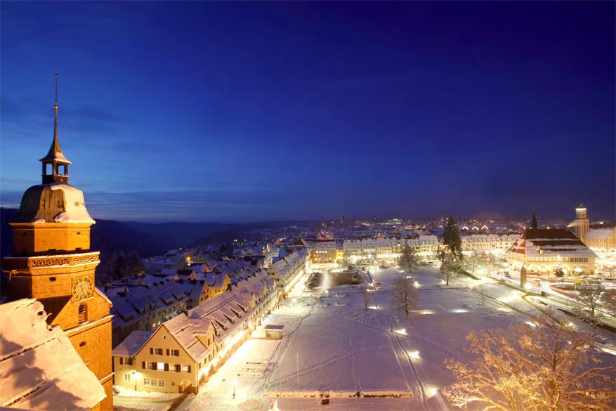 Het grootste marktplein van Duitsland in Freudenstadt