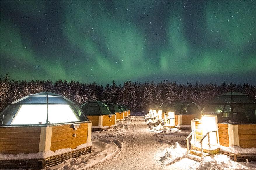 In de iglo's van het Arctic Snow Hotel blijft de temperatuur zo'n 5 °C © Arctic Snow Hotel