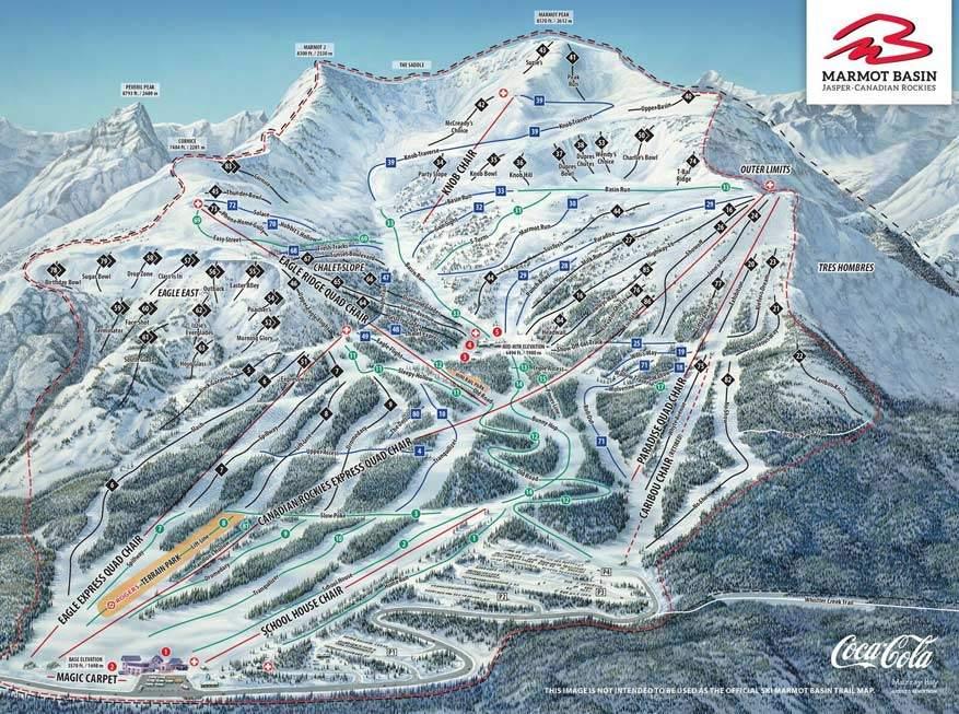 In Marmot Basin is er ruimte in overvloed om te skiën.