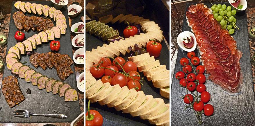 Het rijkelijk versierde buffet van het hotel, want het oog wil ook wat! © Bruno Loockx