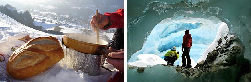 Fonduen in openlucht (links) of in een ijsgrot (rechts). © Toerisme Fribourg   © Toerisme Zinal
