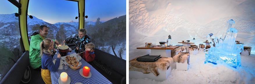 Spectaculair: smullen van een kaasfondue vanuit een gondel (links) of in een iglo (rechts) © Toerisme Grächen | © Toerisme Zwitserland