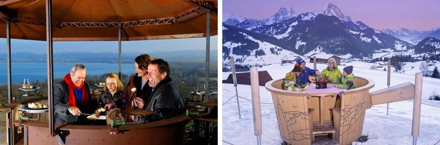 Ook in een carrousel of heuse fonduepot smaakt de kaasspecialiteit heerlijk! © Fondue Carrousel | © Toerisme Gstaad