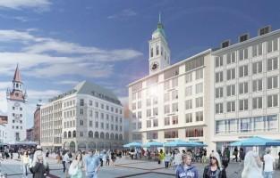 München: woonkamer with a view. In het najaar van 2017 opent BEYOND by Geisel de eerste luxe stadsresidentie op de Marienplatz in hartje München. De gasten zullen zich snel thuis voelen in dit exclusieve onderkomen met een gezellige woonkamer, een keuken en 24/7 conciërgeservice. De Spaanse architecten van Nieto Sobejano Arquitectos zijn verantwoordelijk voor het ontwerp van deze accommodatie. Hoogtepunt vormen de acht kamers met fabelachtig uitzicht op het historische stadhuis. Maar ook in de andere 20 kamers en suites hebben gasten kamerhoge ramen met een panoramisch uitzicht op de Viktualienmarkt en over de daken van de stad. © Bayerische Hausbau