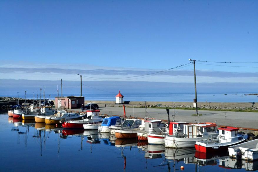 De kleurrijke bootjes van Obrestad hamn.
