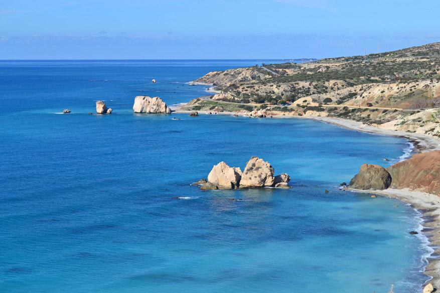 De rots van Aphrodite ten oosten van Pafos in Cyprus.