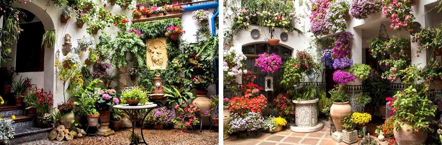 De inwoners doen elk jaar hun best om de patio's zo mooi mogelijk te maken.