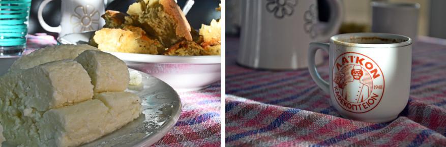 Poef van de heerlijke lekkernijen op het eiland: halloumi met brood en Cypriotische koffie.