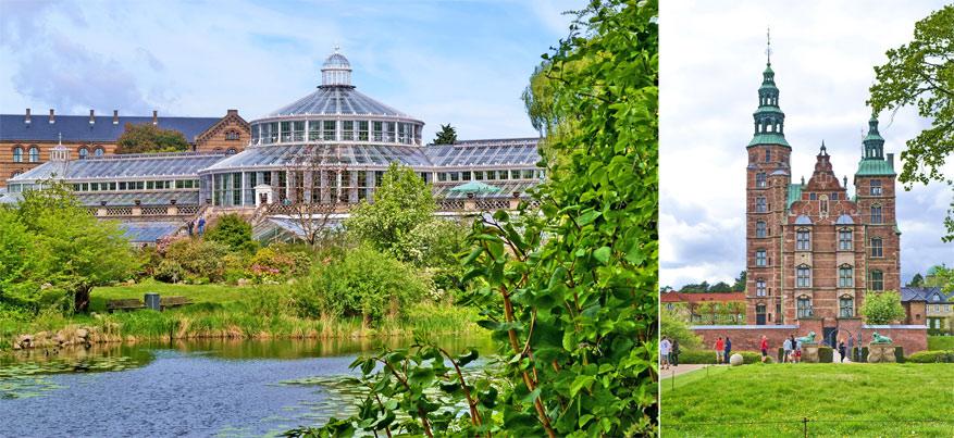 De Botanische Tuin en de Koningstuin bij het kasteel Rosenborg zijn twee bekende groene plaatsen in Kopenhagen.