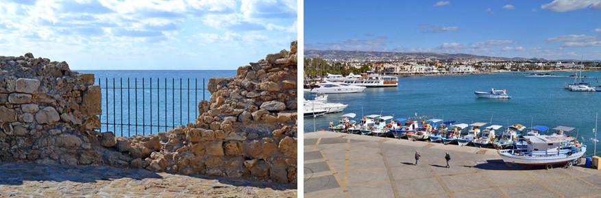 Het fort van Pafos met uitzicht op de zee of de haven van Pafos.