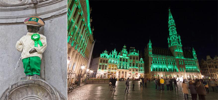 Manneken Pis en de Grote Markt van Brussel worden al voor de 5de keer in een groen jasje gestoken.