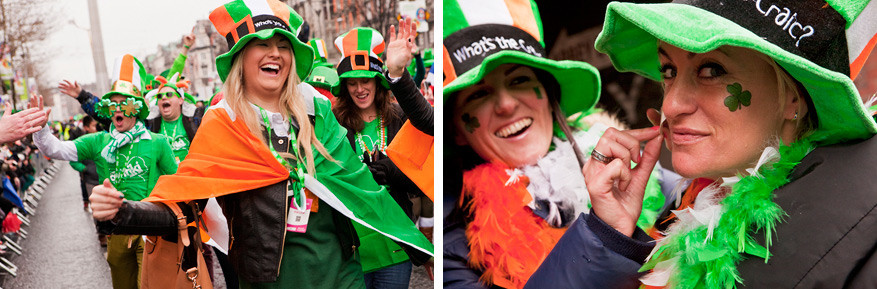 Terwijl de gebouwen bij ons groen oplichten, gaat het feestgedruis in Dublin ongestoord verder!