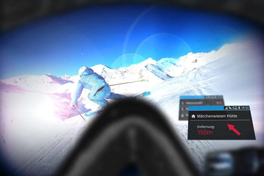 Het schermpje rechtsonder hindert in geen geval tijdens het skiën. © Ski amadé Tourismus