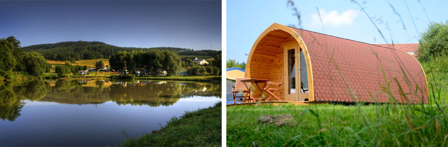 De Pods op camping Chvalšiny werden gemaakt uit Zuid-Boheems hout. © camping Chvalšiny