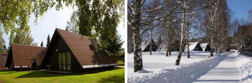 Zowel in de sneeuw als in het groen hebben de Finse hutten van camping Dolce hun charme! © camping Dolce