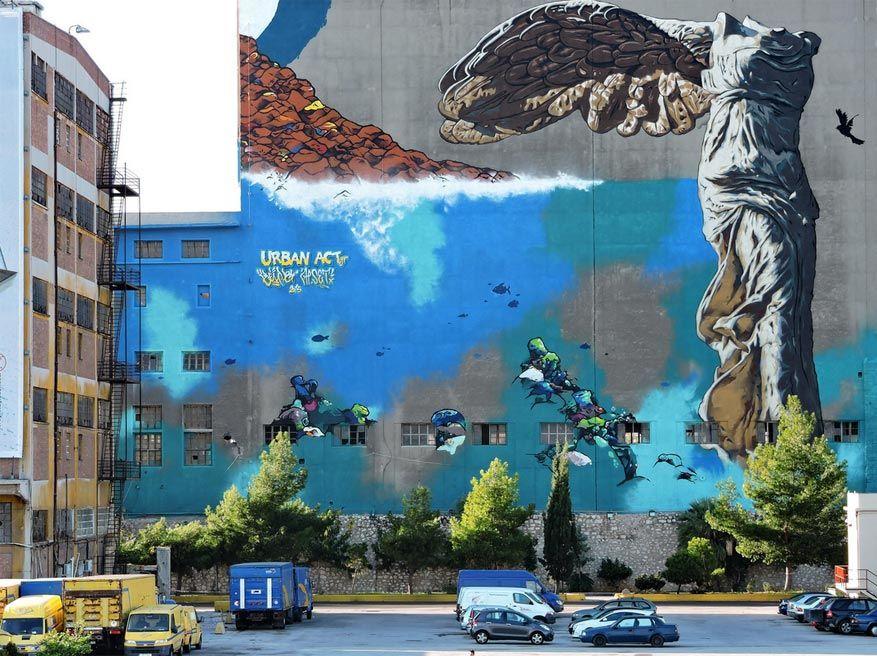 In verschillende wijken in Athene geniet van je bijzondere street art. © Dimitris Kamaras via Flickr Creative Commons