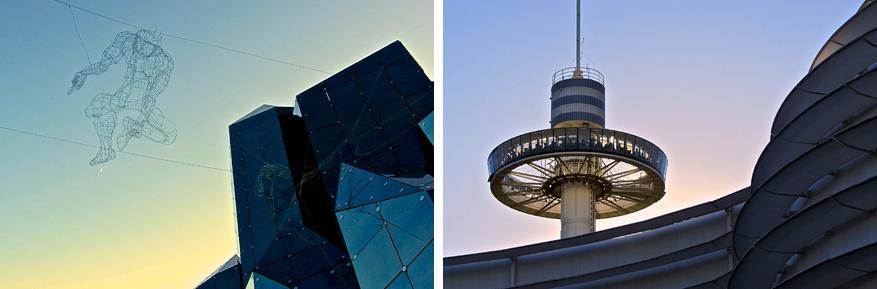 De futuristische architectuur van het park komt 's avonds nog meer tot zijn recht.