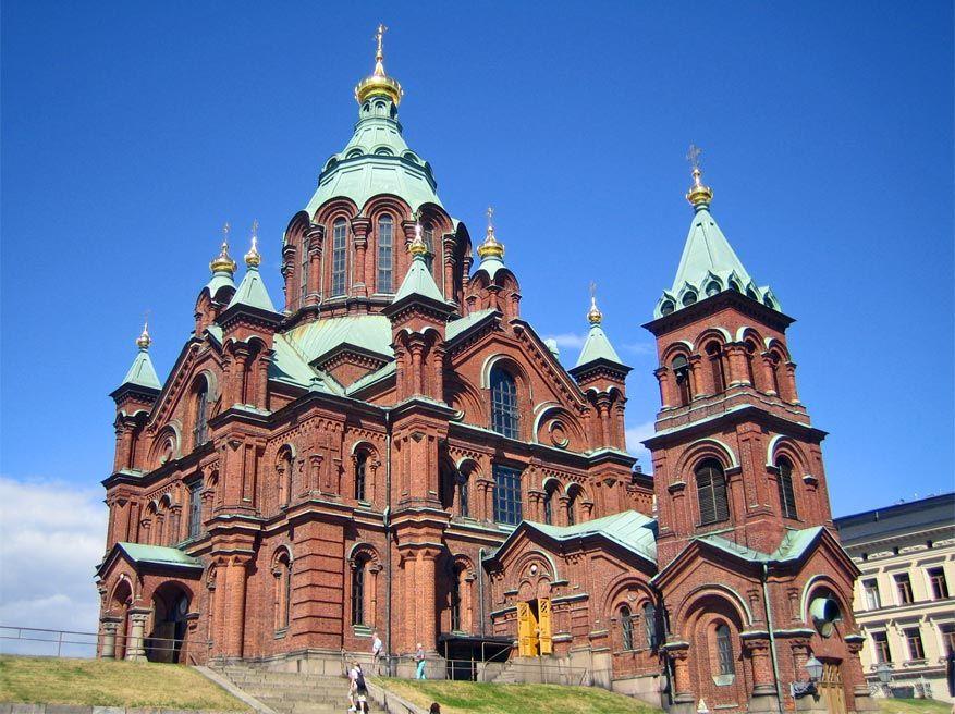 De Uspenski kathedraal pronkt met een uitgesproken Russische architectuur. © Wikimedia Commons