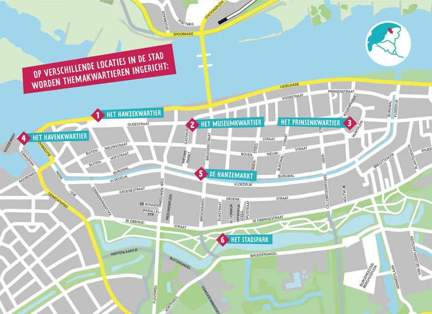 Stadskaart van Kampen met alle kwartieren. © Hanze2017