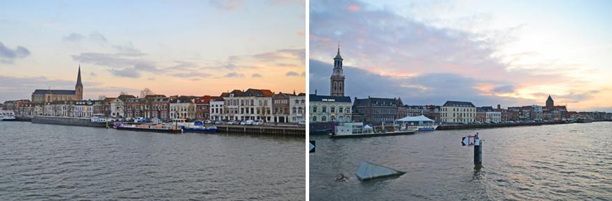 De skyline van Kampen bij valavond.