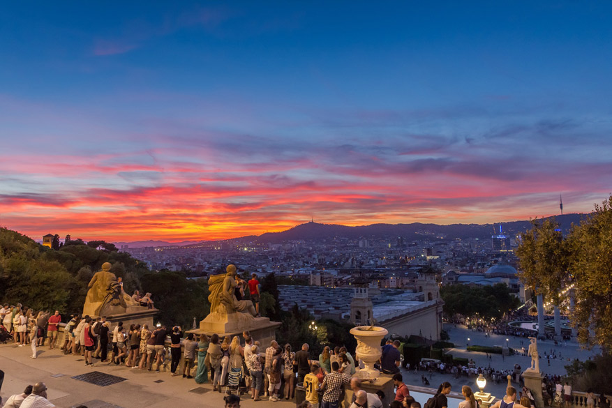 Zonsondergang op de Montjuïc. © Pixabay