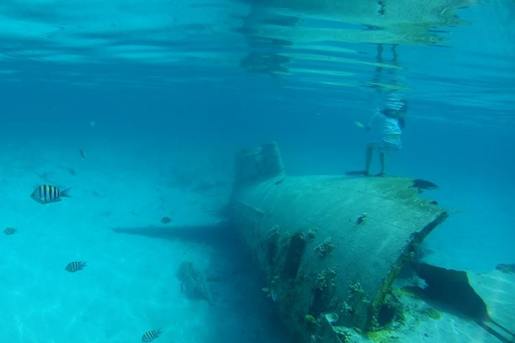 Lehder's vliegtuig, Norman's Cay Bahama's: het kleine eiland Norman Cay vormde 40 jaar geleden de hoofdzetel van drugsmokkeloperaties onder leiding van Carlos Lehder. In ondiep water vind je met snorkel en zwembril nog steeds een van zijn smokkelvliegtuigen terug. © Public Domain via Flickr Creative Commons