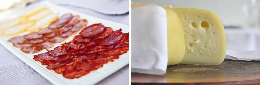 Proef van heerlijke Portugese kaas of charcuterie.