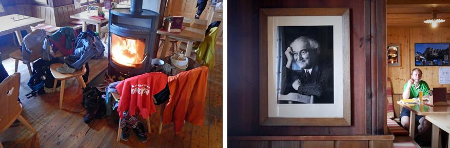 Karlsbaderhütte drogen onze kleren aan de kachel.