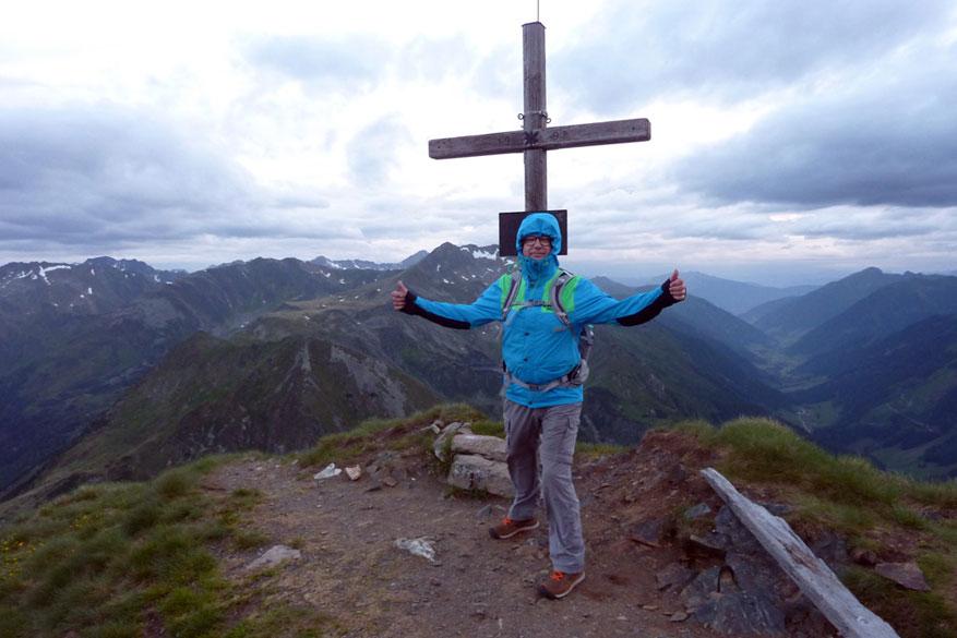 Op de top van Hornfeldspitz, maar zonder zonsopgang