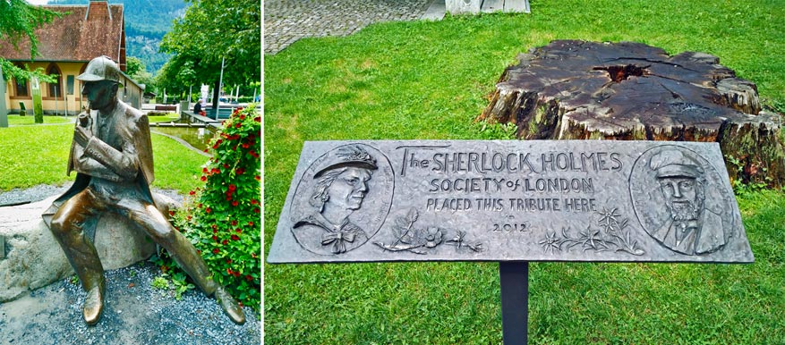 Onderweg komen we genoeg herdenkingsmonumentjes tegen voor Sherlock Holmes.