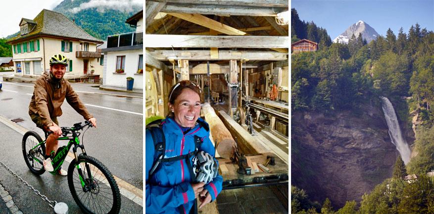 Afzien en genieten op de fiets, gids Brigitte in de houtzagerij en de climax van het verhaal: de Reichenbachfall (© Wikimedia Commons)