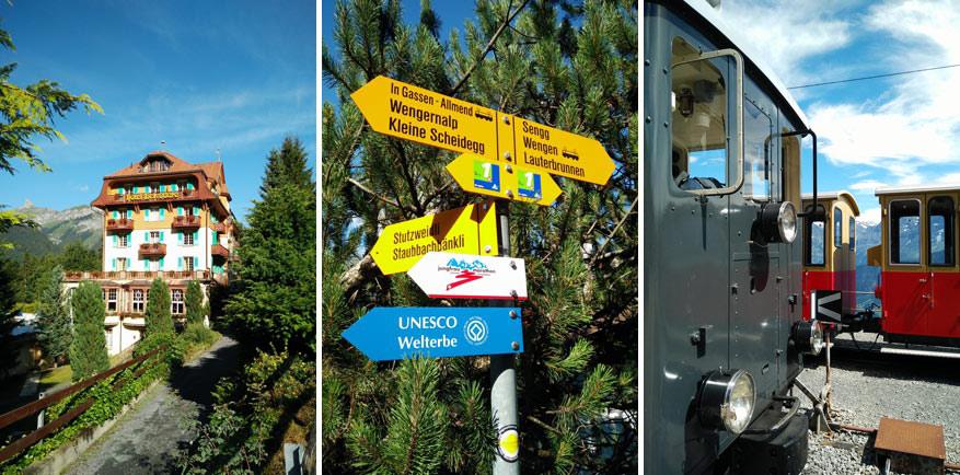 Links: Traditionele woning in Wengen. Midden: Wegwijzers leiden je naar de juiste route. Rechts: Tandradbaan van de Schynige Platte.