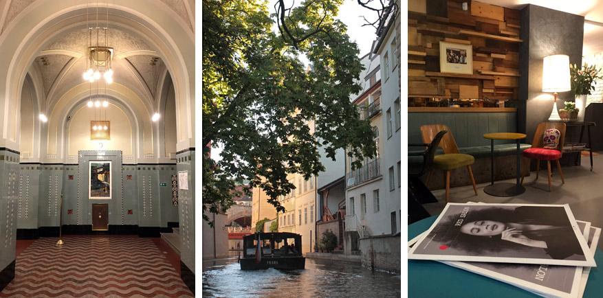 Links: de concertzaal van Obecni Dum, midden: Praags Venetië, rechts: pauzeren in Styl & Interier.